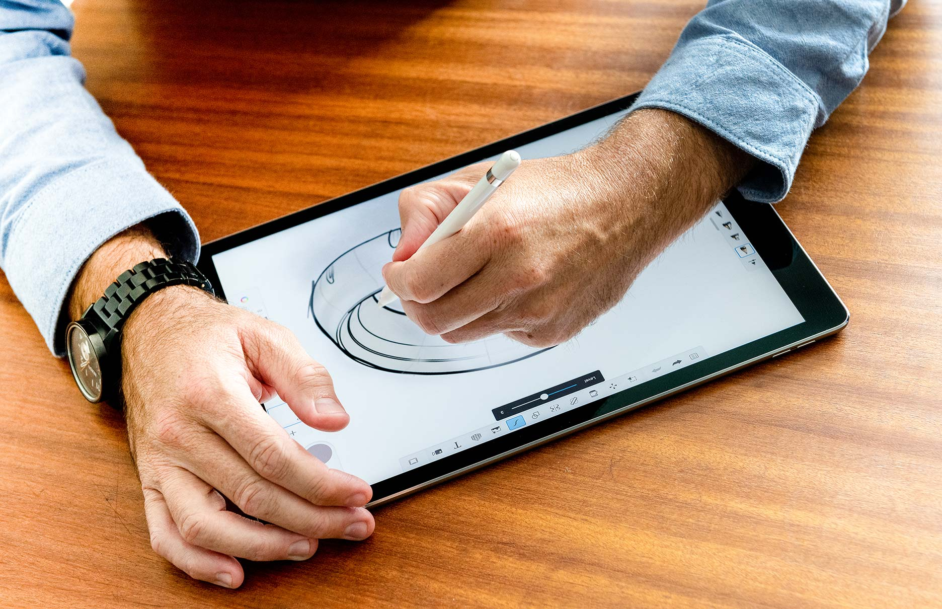 product designers sketching